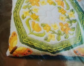 Pillow  Kit Embroidery with Butterflies Vintage  Orange Yellow Green