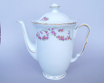 Coffee Pot  1952 White with Pink Roses Czechoslovakia Porcelain China