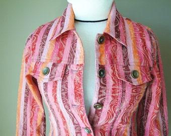 Vintage Denim Jacket Pink  Boho Style in Pink Stripes  Sale Price