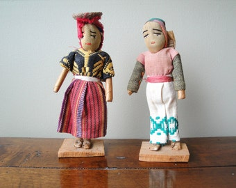 Vintage Folk Art South American Doll Couple Hand Crafted