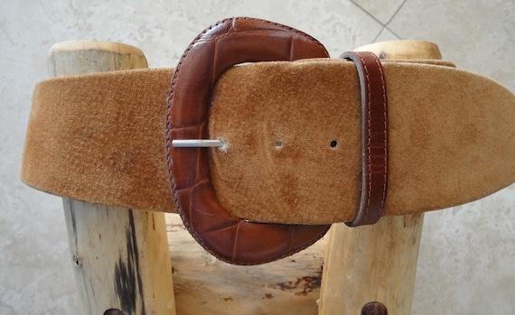 vintage brown suede wide belt womens by vintagepatriotgirl