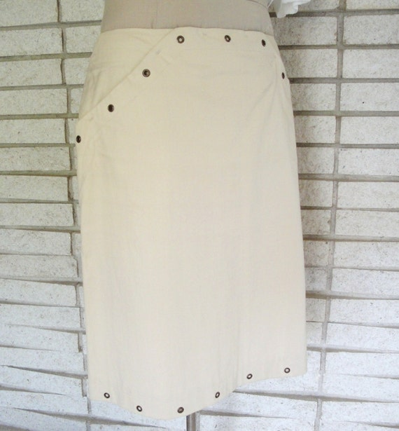 Vintage Khaki  Skirt with Grommet  Hem and Side Pockets