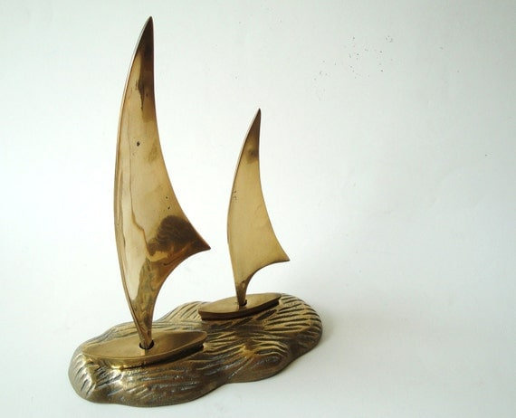 Brass Sail Boat Paper Weight Executive Desk Ornament