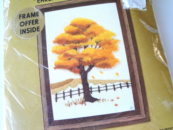 Embroidery Kit 70s Fall Tree Wall Hanging Vintage