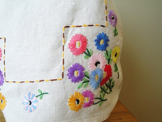 Vintage Embroidered Tea Cozy Cover Fine Natural Linen