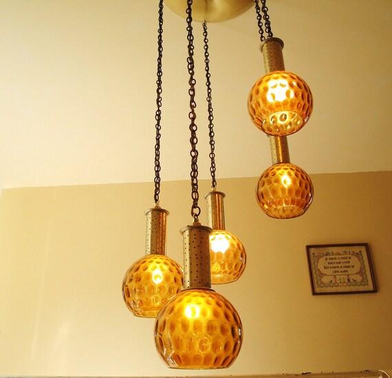 Vintage 60s Pendant Lighting Amber Glass 5 light Chandelier