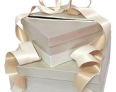 Wedding Gift Card Box with 2 colors of ribbon and Pearls, wishing well, money holder, money box, centerpiece