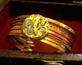 Steampunk Vintage Watch Bracelet Cuff w/ Cogs and Gears Neo Victorian Goth Punk