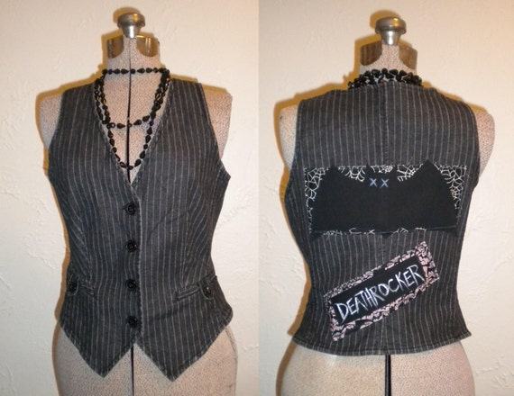 ON SALE Upcycled Deathrocker Vest Pinstripe Bats Back Patches
