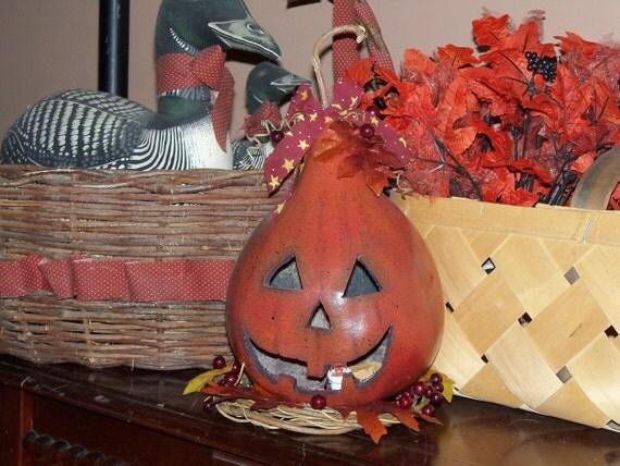 Prim Halloween gourd Lighted Pumpkin fall decoration