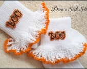 Boutique Crocheted Lace Ruffle Pageant Socks Custom Halloween BOO Costume