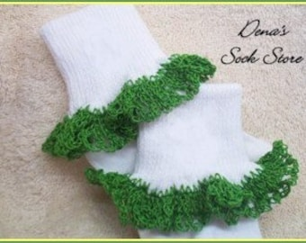 Back to School -- Boutique Crocheted Lace Ruffle Pageant Socks GREEN Custom