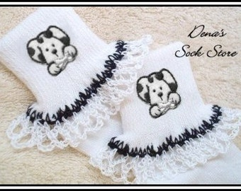 Boutique Crocheted Lace Ruffle Pageant Socks Custom DALMATION Puppy Dog
