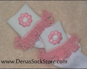 Boutique Crocheted Lace Ruffle Pageant Socks Pink Blosoms