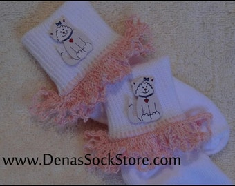 Boutique Crocheted Lace Ruffle Pageant Socks Kittens 2