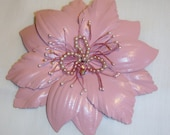 """Large Pink Leather 4 1/2"""" Flower w Pearls and Crystal for upcycle or Use As Is"""
