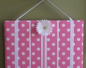 Hair Bow Board Organizer: Pink and White Polka Dots with optional headband holder