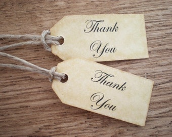Thank Thank You Tags Favor Tags Labels Hang Tags  Shabby Chic  Set Of 12 Vintage Inspired Handmade Tiny Tags