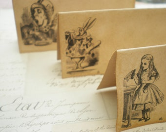 Place Cards Alice In Wonderland Themed Vintage Style  - Set Of 10