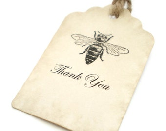 Wedding Favor Tags Thank You Tags Bee Tags Hang Tags Shabby Chic Set Of 50