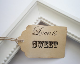 Favor Tags, Love Is Sweet, Set Of 24, Choice Of Ribbon Colors