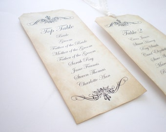 Wedding Seating Plan - Vintage Style Table Plan Tags