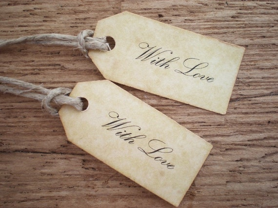 Custom Order For - Amanda Love Tags Wedding Favor Tags Gift Tags Thank You Tags Vintage Style Tags