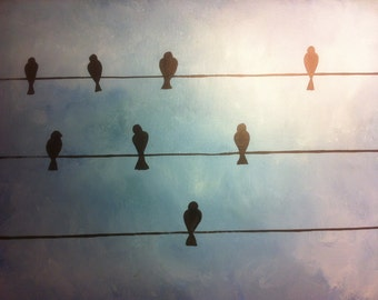 Birds on wire- 18 x 24 acrylic on canvas panel, ready to hang, by Michael H. Prosper