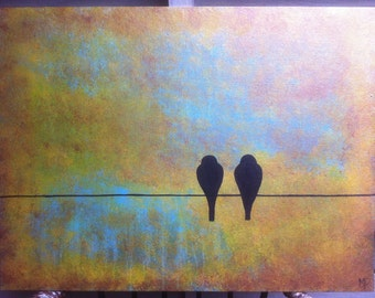 Painting-Birds on wire- 18 x 24 acrylic on canvas panel by Michael H. Prosper