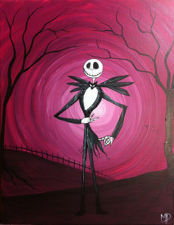 Nightmare before christmas acrylic painting jack skellington for Christmas art painting ideas