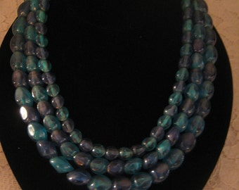 Triple Strand Blue and Green Necklace