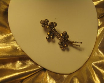 Vintage Smokey Glass faceted Brooch Pin