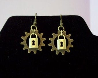 Brass Lock and Gear Steampunk Earrings