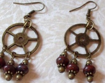Steampunk Poppy Jasper Chandelier Earrings