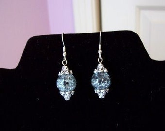 Gray Crystal Ball Earrings
