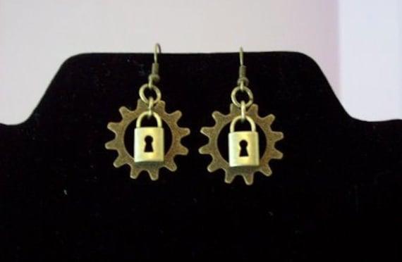 Brass Lock and Gear Steampunk Earrings