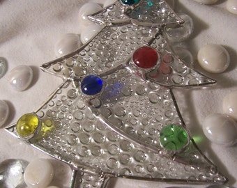 clear bubble stained glass Christmas tree ornament