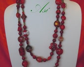 NIT13 - Red Is Lucky - Handmade Necklace - Vintage Style in Lampwork Beads - Free Shipping