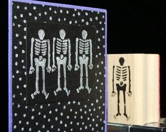 "halloween rubber stamp  ""lil skeleton"""