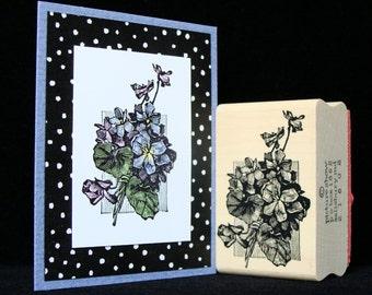 violets rubber stamp
