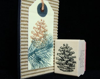 "picture show rubber stamp, ""pine cone"""