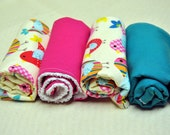 Baby Girl Burp Cloths (Set of 4) Multi Colored Birds, Teal and Hot Pink