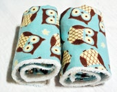Baby Boy Minky Burp Cloths (Set of 4) Turquoise Owls