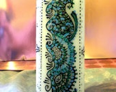 "Reserved for LADYWINTERMUTE - Two 6"" Floral Henna-Design Candles"