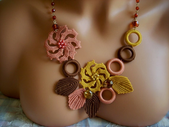 Bridesmaids Turkish Oya gift crochet hardal gul kurusu brown necklace