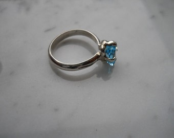 Blue Zircon Gemstone Ring