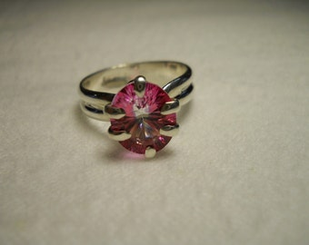 Pink and Crystal Topaz gemstone Ring