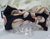 Dog Bow Tie - Blue Baseballs - Any Size - Item 3002