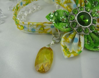 Fancy Dog Collar - Yellow Daisy - Any Size - Item 1301