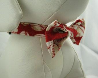 Dog Bow Tie - Red Baseballs - Any Size - Item 3003